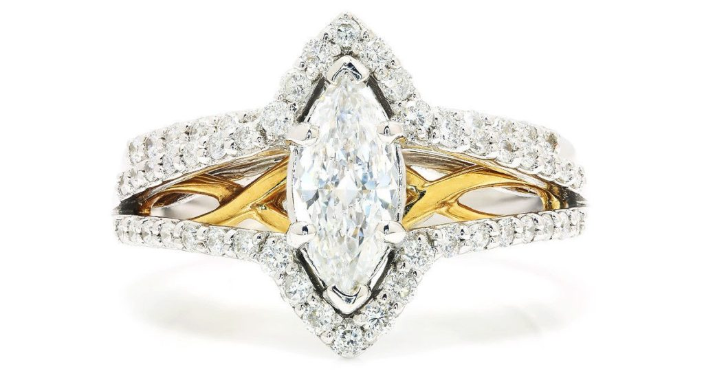 Marquise Diamond Engagement Ring Set 14K Two Tone Gold 1.00ctw