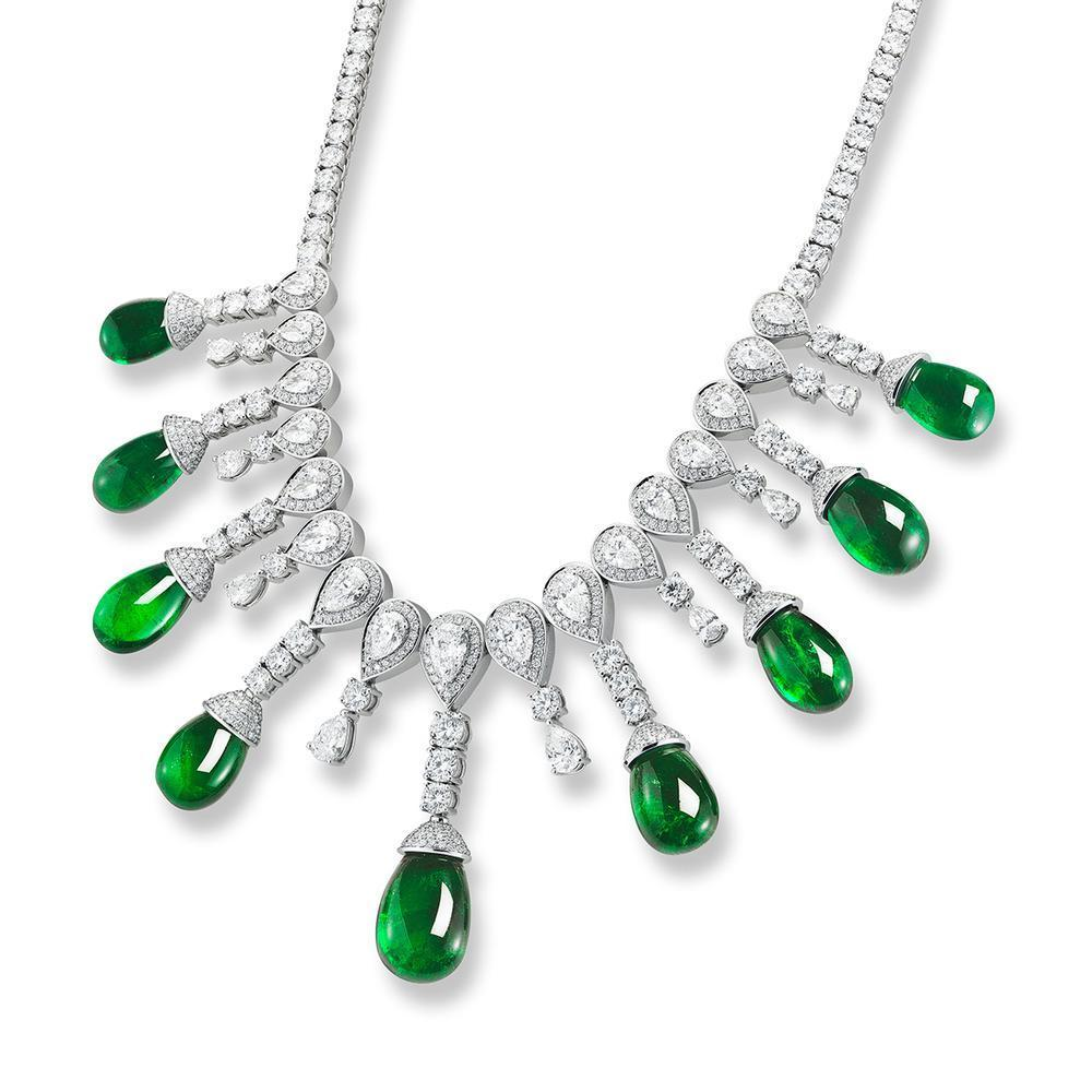 153.43 Ct Natural Matching Drop Emerald and Diamond Necklace GIA Certified