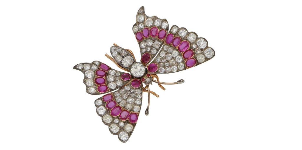 Victorian Ruby Diamond Butterfly Brooch $39,336.68
