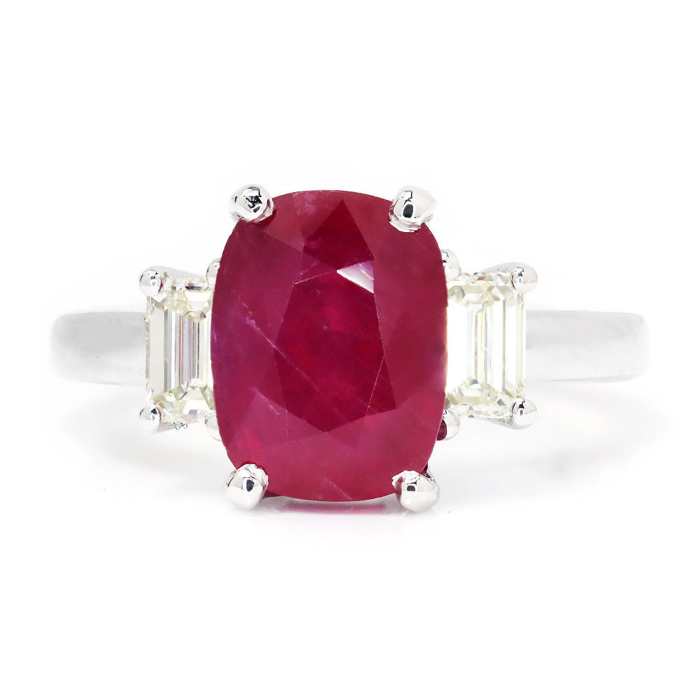 Oval Ruby 3 Stone Ring with Diamonds in 18Kt White Gold 3.98ctw