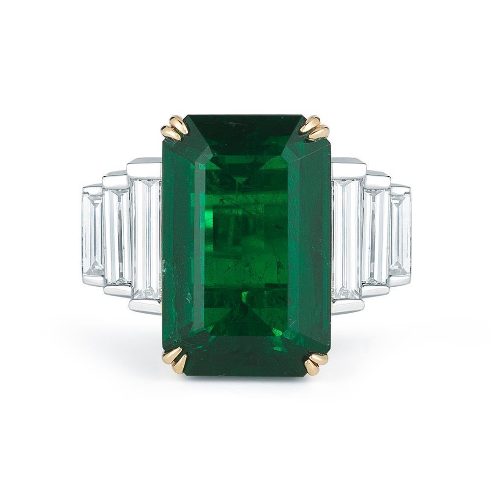 13.96 ct Emerald and Diamond Platinum and 18 K Gold Ring GIA Certified