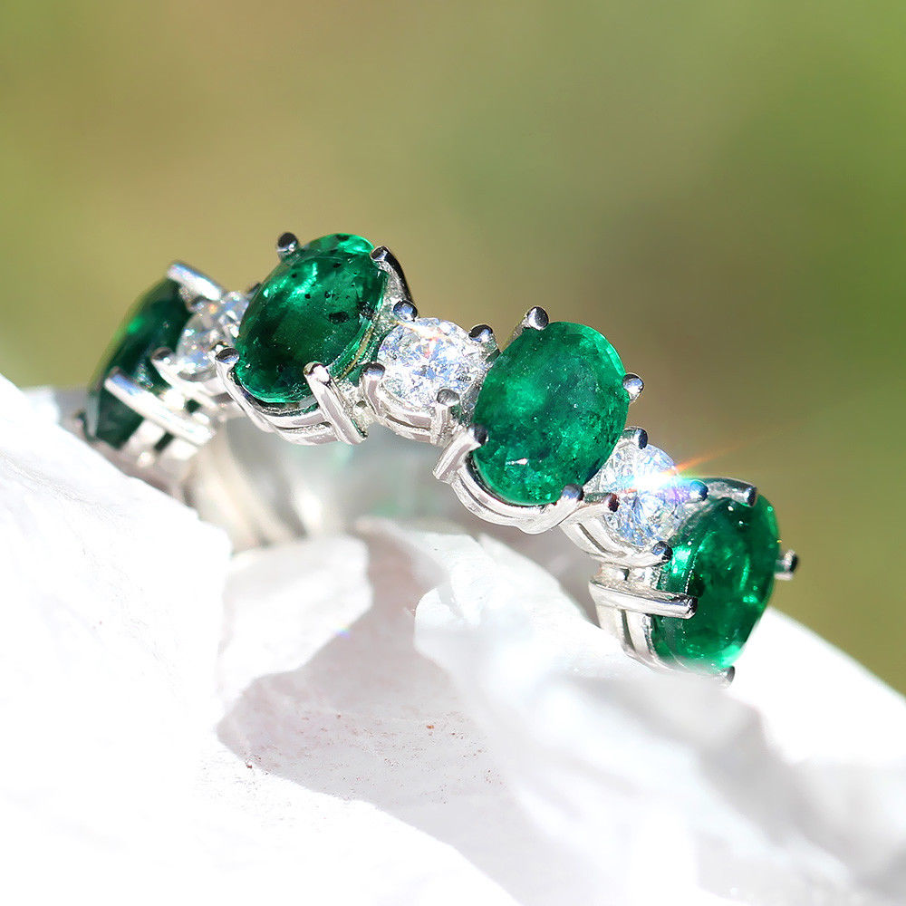Oval Emerald Band with Diamonds in 14kt White Gold 4.26ctw Cocktail Ring