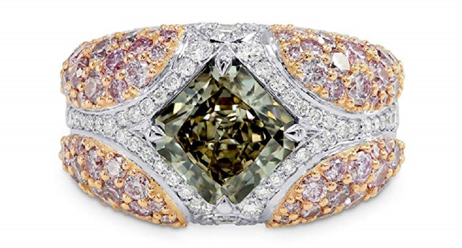 4.69Cts Green Diamond Engagement Extraordinary Ring Set in 18K White Rose Gold