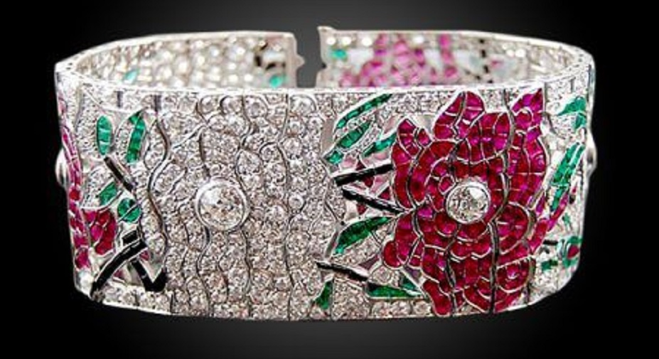 Platinum Diamond, Ruby, Emerald, Onyx Flower Bracelet