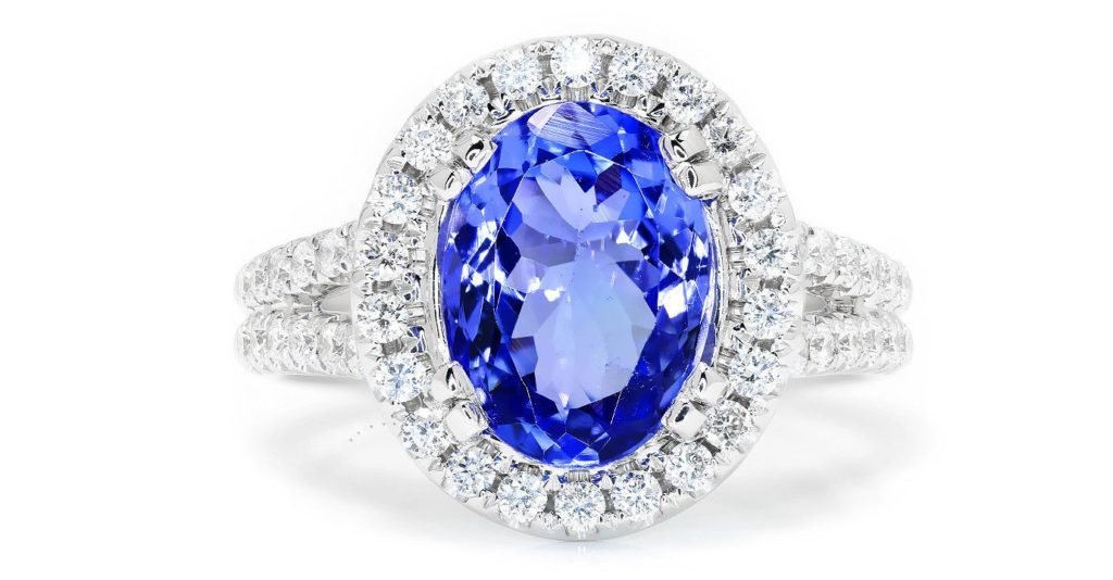 Tanzanite Halo Ring with Diamonds in 18Kt White Gold 3.83ctw