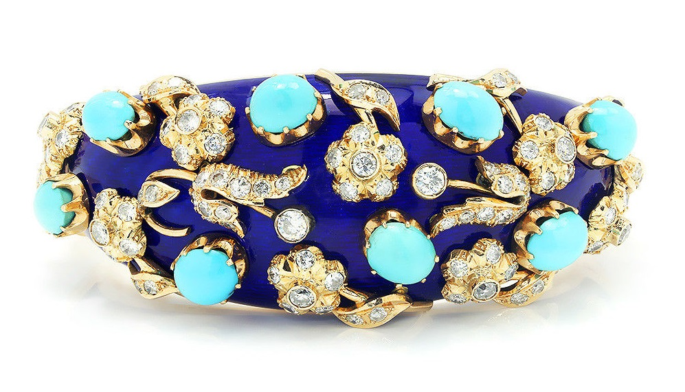 Vintage Turquoise & Diamond Floral Bangle with Enamel in 14Kt Yellow Gold 22.30ctw
