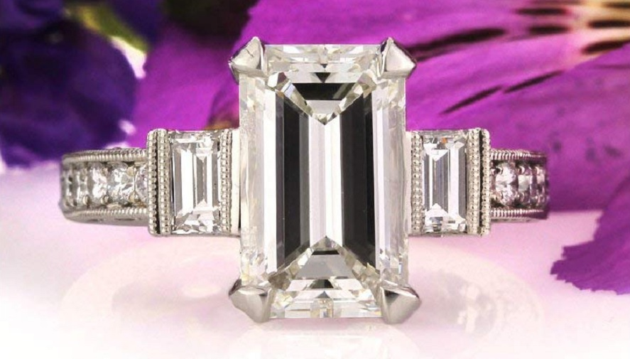 5.49ct Emerald Cut Diamond Engagement Ring