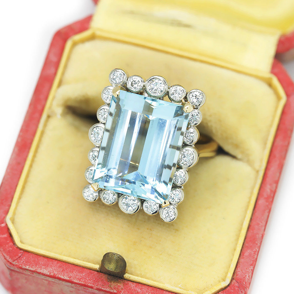 Vintage Aquamarine Ring with Diamonds in 14Kt Two Tone Gold 13.00ctw