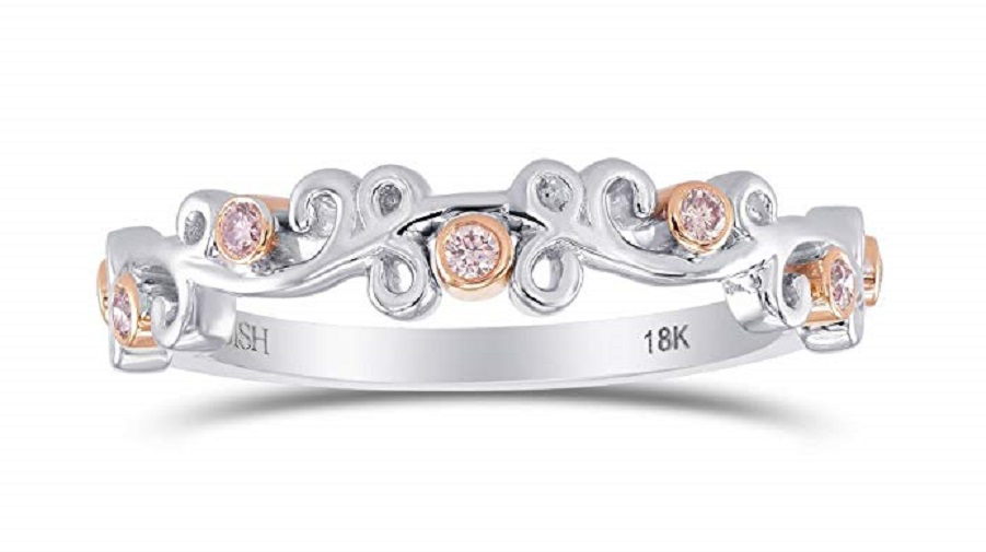 0.09Cts Band Ring Set in 18K White Rose Gold
