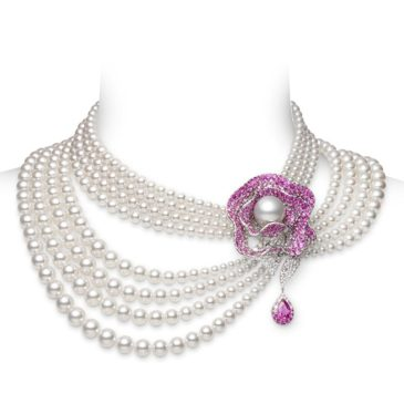 Pink  Sapphire and Pearl Necklace/Brooch
