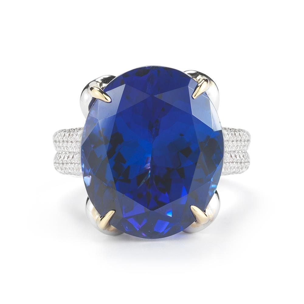 Oval 22.96 Carat Tanzanite Diamond Ring 18K