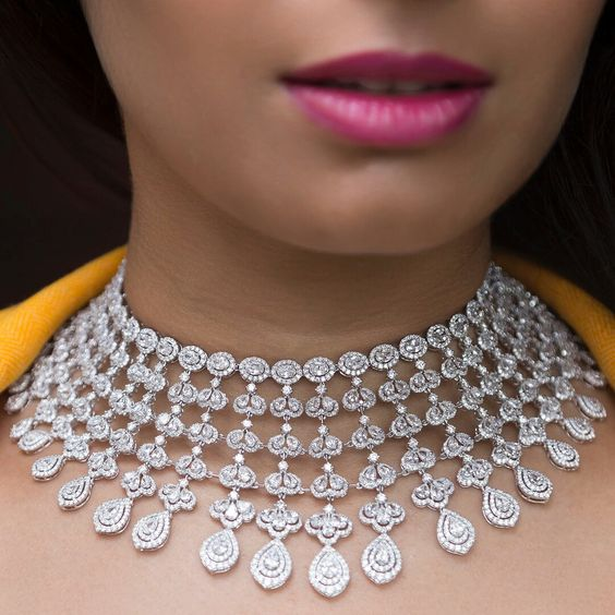 Glittering in round and pear shaped diamond bridal necklace by Bapalal Keshavlal
