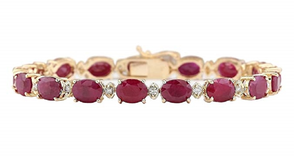 28.58 Carat Natural Red Ruby and Diamond (F-G Color, VS1-VS2 Clarity) 14K Yellow Gold Luxury Tennis Bracelet for Women Exclusively Handcrafted in USA