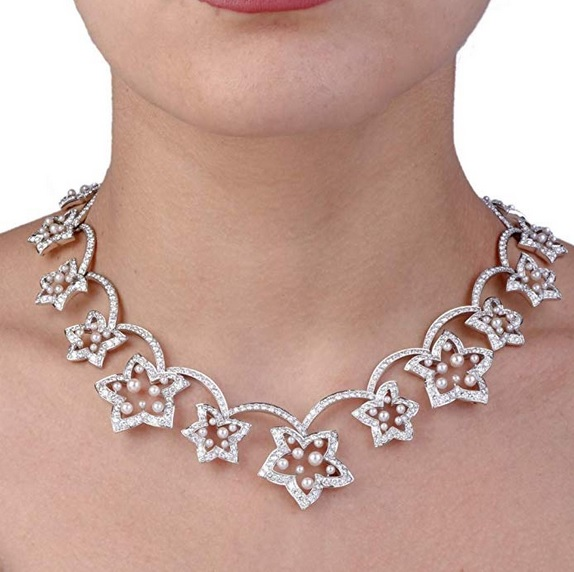 Dover Jewelry Diamond Pearl Flower Choker Gold Necklace