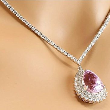 18.27 Carat Natural Pink Kunzite and Diamond (F-G Color, VS1-VS2 Clarity) 14K White Gold Luxury Drop Necklace
