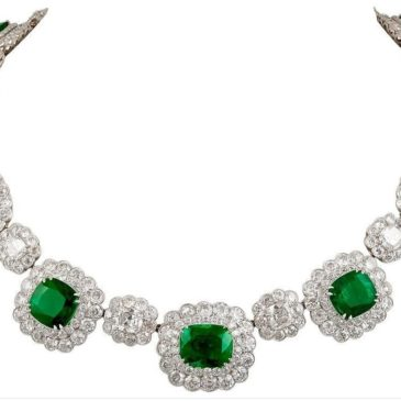 Platinum Diamond and Emerald Necklace